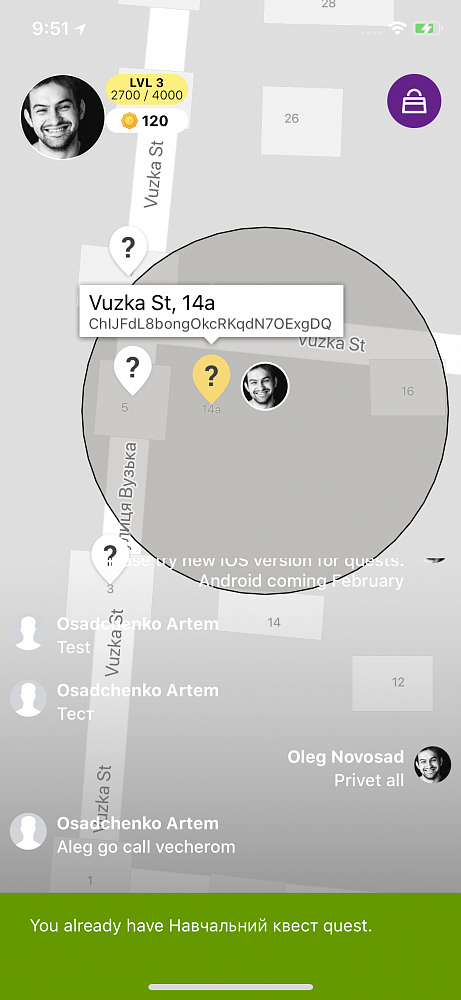Photo 1 - Mobile application for location based quests in your city
